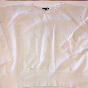 j Crew distressed white sweatshirt.